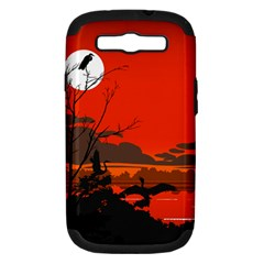 Tropical Birds Orange Sunset Landscape Samsung Galaxy S Iii Hardshell Case (pc+silicone) by WaltCurleeArt
