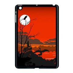 Tropical Birds Orange Sunset Landscape Apple Ipad Mini Case (black) by WaltCurleeArt