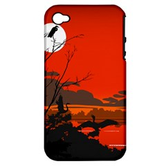 Tropical Birds Orange Sunset Landscape Apple Iphone 4/4s Hardshell Case (pc+silicone) by WaltCurleeArt