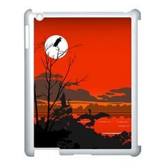 Tropical Birds Orange Sunset Landscape Apple Ipad 3/4 Case (white) by WaltCurleeArt