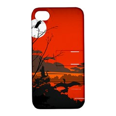 Tropical Birds Orange Sunset Landscape Apple Iphone 4/4s Hardshell Case With Stand by WaltCurleeArt