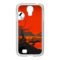 Tropical Birds Orange Sunset Landscape Samsung Galaxy S4 I9500/ I9505 Case (white) by WaltCurleeArt