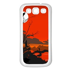 Tropical Birds Orange Sunset Landscape Samsung Galaxy S3 Back Case (white) by WaltCurleeArt