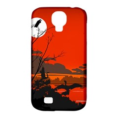 Tropical Birds Orange Sunset Landscape Samsung Galaxy S4 Classic Hardshell Case (pc+silicone) by WaltCurleeArt