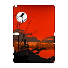 Tropical Birds Orange Sunset Landscape Samsung Galaxy Note 10 1 (p600) Hardshell Case by WaltCurleeArt