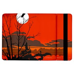 Tropical Birds Orange Sunset Landscape Ipad Air Flip by WaltCurleeArt