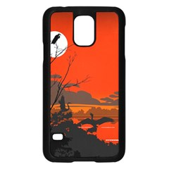 Tropical Birds Orange Sunset Landscape Samsung Galaxy S5 Case (black) by WaltCurleeArt
