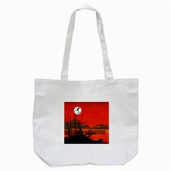 Tropical Birds Orange Sunset Landscape Tote Bag (white) by WaltCurleeArt