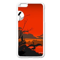 Tropical Birds Orange Sunset Landscape Apple Iphone 6 Plus/6s Plus Enamel White Case by WaltCurleeArt