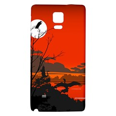 Tropical Birds Orange Sunset Landscape Galaxy Note 4 Back Case by WaltCurleeArt