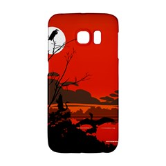 Tropical Birds Orange Sunset Landscape Galaxy S6 Edge by WaltCurleeArt