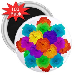 Flowes Collage Ornament 3  Magnets (100 Pack) by dflcprints