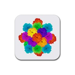Flowes Collage Ornament Rubber Coaster (square)  by dflcprints