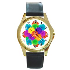 Flowes Collage Ornament Round Gold Metal Watch by dflcprints
