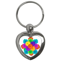 Flowes Collage Ornament Key Chains (heart)  by dflcprints
