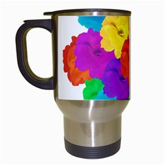 Flowes Collage Ornament Travel Mugs (white) by dflcprints