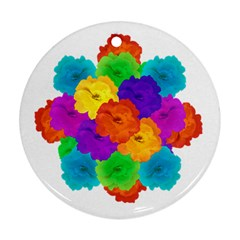 Flowes Collage Ornament Round Ornament (two Sides)  by dflcprints