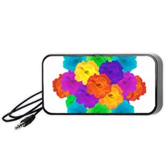 Flowes Collage Ornament Portable Speaker (black)  by dflcprints
