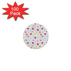 Seamless Colorful Flowers Pattern 1  Mini Buttons (100 Pack)