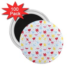 Seamless Colorful Flowers Pattern 2 25  Magnets (100 Pack)