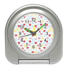 Seamless Colorful Flowers Pattern Travel Alarm Clocks