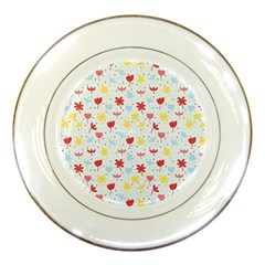 Seamless Colorful Flowers Pattern Porcelain Plates