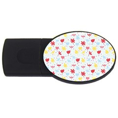 Seamless Colorful Flowers Pattern Usb Flash Drive Oval (4 Gb)