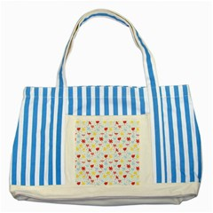 Seamless Colorful Flowers Pattern Striped Blue Tote Bag