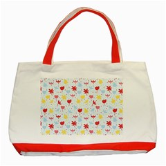 Seamless Colorful Flowers Pattern Classic Tote Bag (red) by TastefulDesigns