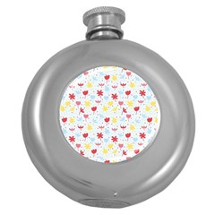 Seamless Colorful Flowers Pattern Round Hip Flask (5 Oz)