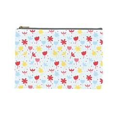 Seamless Colorful Flowers Pattern Cosmetic Bag (large)