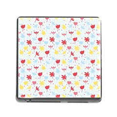 Seamless Colorful Flowers Pattern Memory Card Reader (Square)