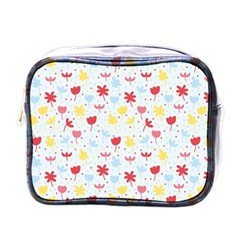 Seamless Colorful Flowers Pattern Mini Toiletries Bags