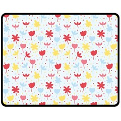 Seamless Colorful Flowers Pattern Fleece Blanket (medium)