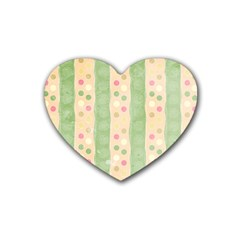 Seamless Colorful Dotted Pattern Heart Coaster (4 Pack)