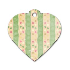 Seamless Colorful Dotted Pattern Dog Tag Heart (one Side) by TastefulDesigns