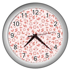 Red Seamless Floral Pattern Wall Clocks (silver)
