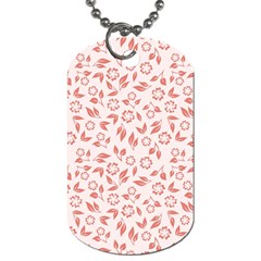 Red Seamless Floral Pattern Dog Tag (one Side)