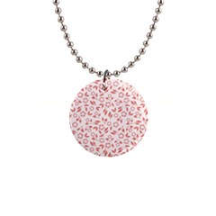 Red Seamless Floral Pattern Button Necklaces