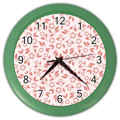 Red Seamless Floral Pattern Color Wall Clocks