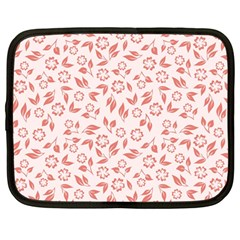 Red Seamless Floral Pattern Netbook Case (large)