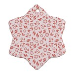 Red Seamless Floral Pattern Snowflake Ornament (2-Side) Back