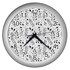 Hand Painted Floral Pattern Wall Clocks (silver)