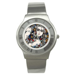 Flower Woman Stainless Steel Watch (slim) by DryInk