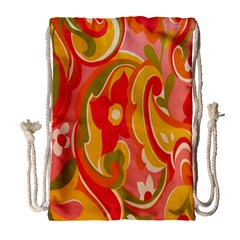 60s Flower Power  Drawstring Bag (large) by TCH01