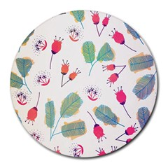 Hand Drawn Flowers Background Round Mousepads