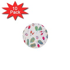 Hand Drawn Flowers Background 1  Mini Buttons (10 Pack)  by TastefulDesigns