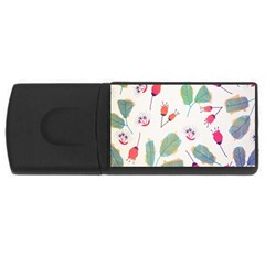 Hand Drawn Flowers Background Usb Flash Drive Rectangular (4 Gb)
