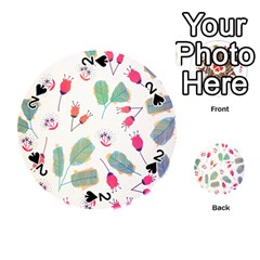 Hand Drawn Flowers Background Playing Cards 54 (round)