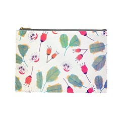 Hand Drawn Flowers Background Cosmetic Bag (large)